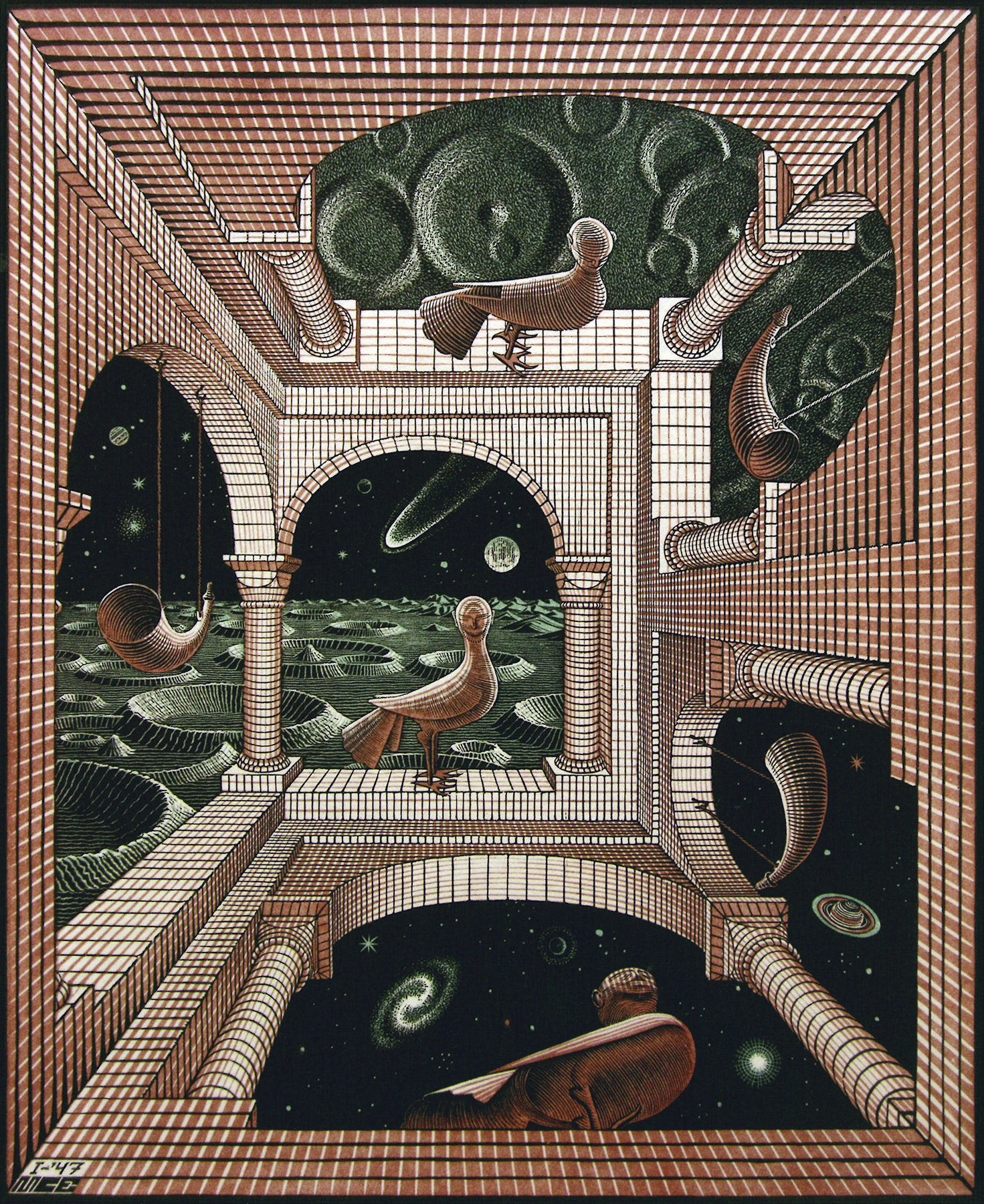 Escher-Other-World-1947-Woodcut-and-wood-engraving-printed-from-three-blocks